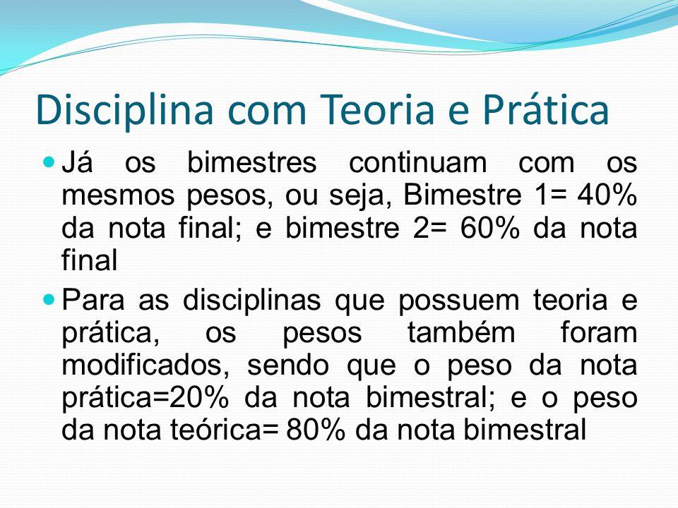 Disciplina com Teoria e Prática Já os bimestres continuam com os mesmos pesos, ou seja, Bimestre 1= 40% da nota final; e bimestre 2= 60% da nota final