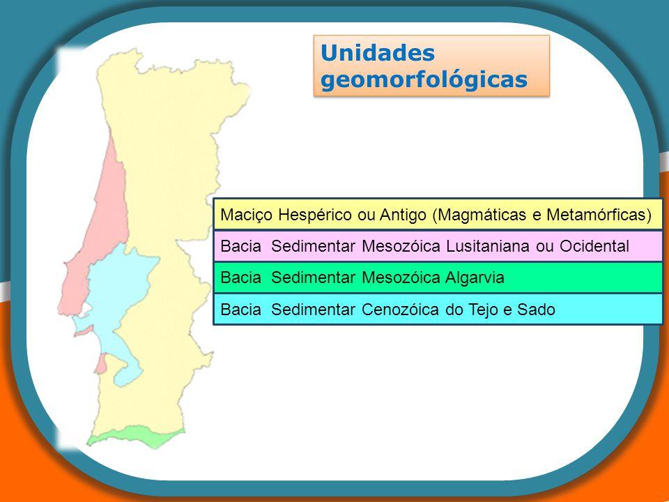 Unidades geomorfológicas Bacia Sedimentar Cenozóica do Tejo e Sado Bacia Sedimentar Mesozóica Lusitaniana ou Ocidental Bacia Sedimentar Mesozóica Alga