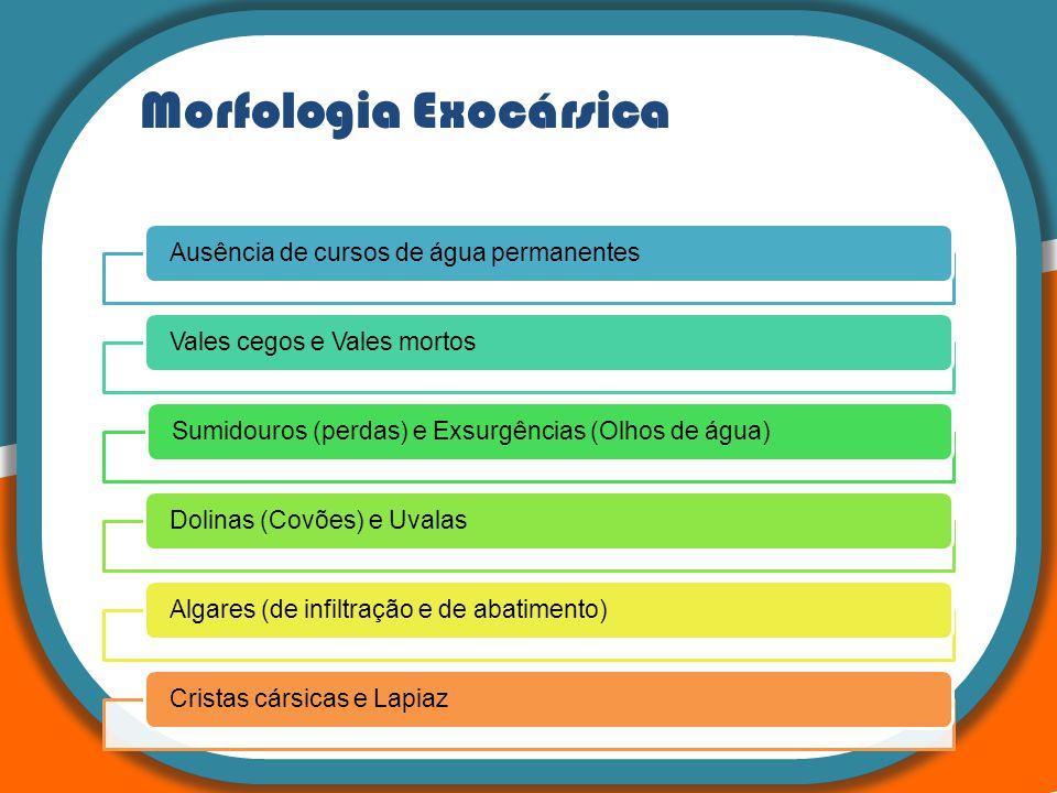 Morfologia Exocársica Ausência de cursos de água permanentesVales cegos e Vales mortosSumidouros (perdas) e Exsurgências (Olhos de água)Dolinas (Covõe