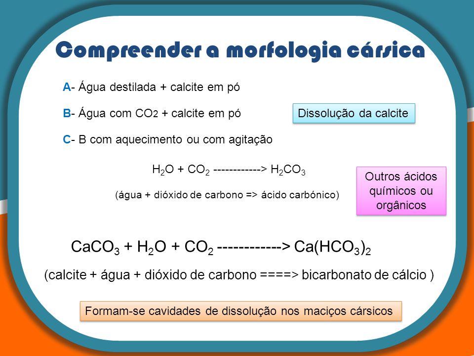 Compreender a morfologia cársica H 2 O + CO 2 ------------> H 2 CO 3 (água + dióxido de carbono => ácido carbónico) A- Água destilada + calcite em pó