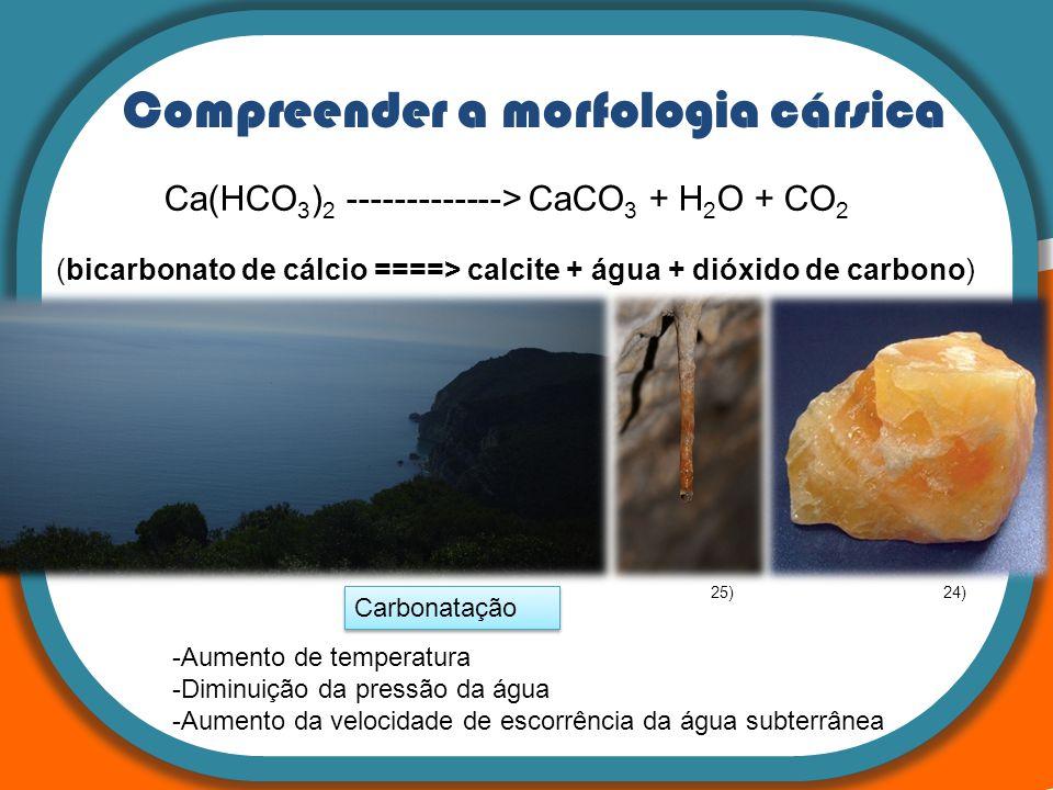 Compreender a morfologia cársica Ca(HCO 3 ) 2 -------------> CaCO 3 + H 2 O + CO 2 (bicarbonato de cálcio ====> calcite + água + dióxido de carbono) C