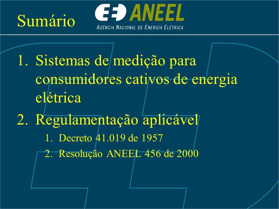 Sumário 1.Sistemas de medição para consumidores cativos de energia elétrica 2.Regulamentação aplicável 1.Decreto 41.019 de 1957 2.Resolução ANEEL 456