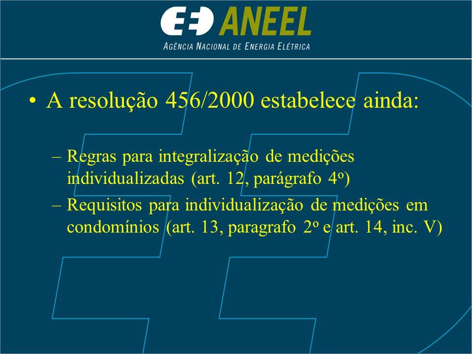 A resolução 456/2000 estabelece ainda: –Regras para integralização de medições individualizadas (art. 12, parágrafo 4 o ) –Requisitos para individuali
