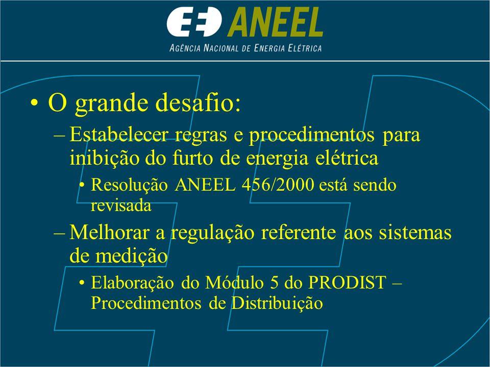 O grande desafio: –Estabelecer regras e procedimentos para inibição do furto de energia elétrica Resolução ANEEL 456/2000 está sendo revisada –Melhora