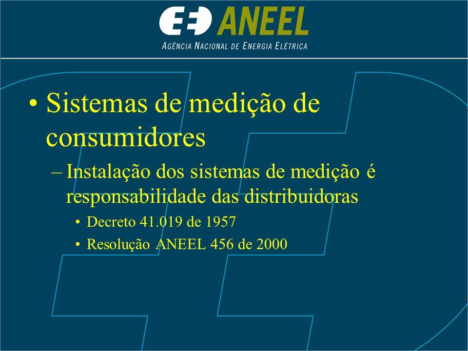 Sistemas de medição de consumidores –Instalação dos sistemas de medição é responsabilidade das distribuidoras Decreto 41.019 de 1957 Resolução ANEEL 4