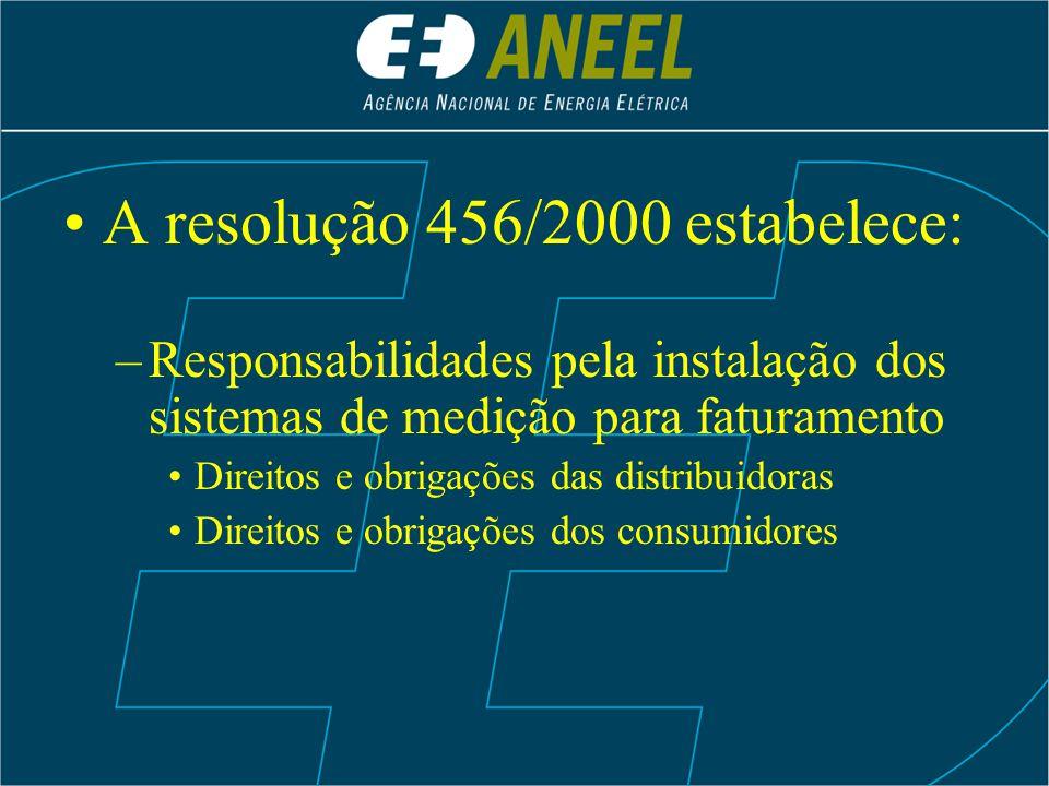 A resolução 456/2000 estabelece: –Responsabilidades pela instalação dos sistemas de medição para faturamento Direitos e obrigações das distribuidoras