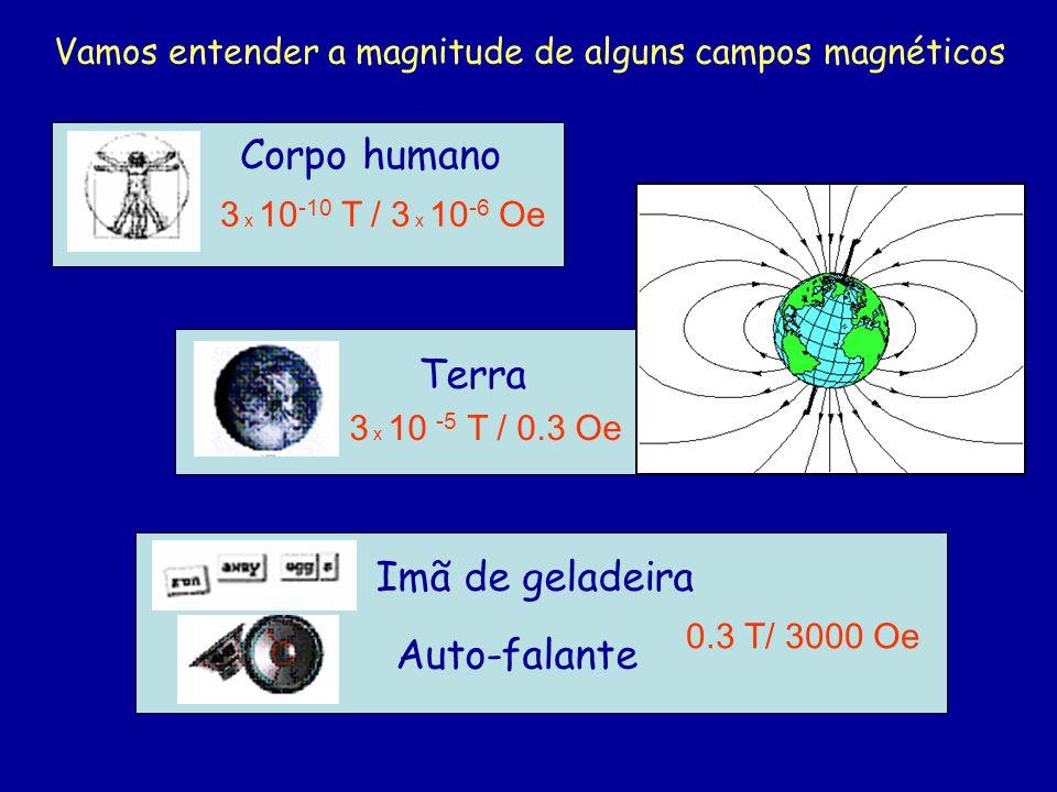 Corpo humano 3 x 10 -10 T / 3 x 10 -6 Oe 0.3 T/ 3000 Oe Imã de geladeira Auto-falante Vamos entender a magnitude de alguns campos magnéticos Terra 3 x