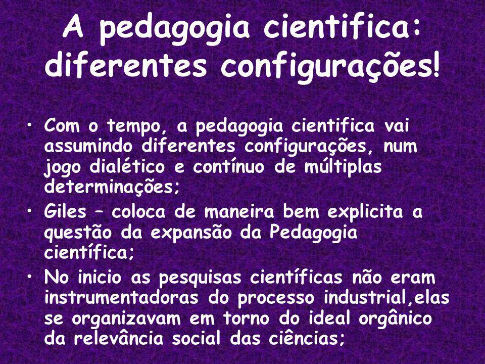 A pedagogia cientifica: diferentes configurações.
