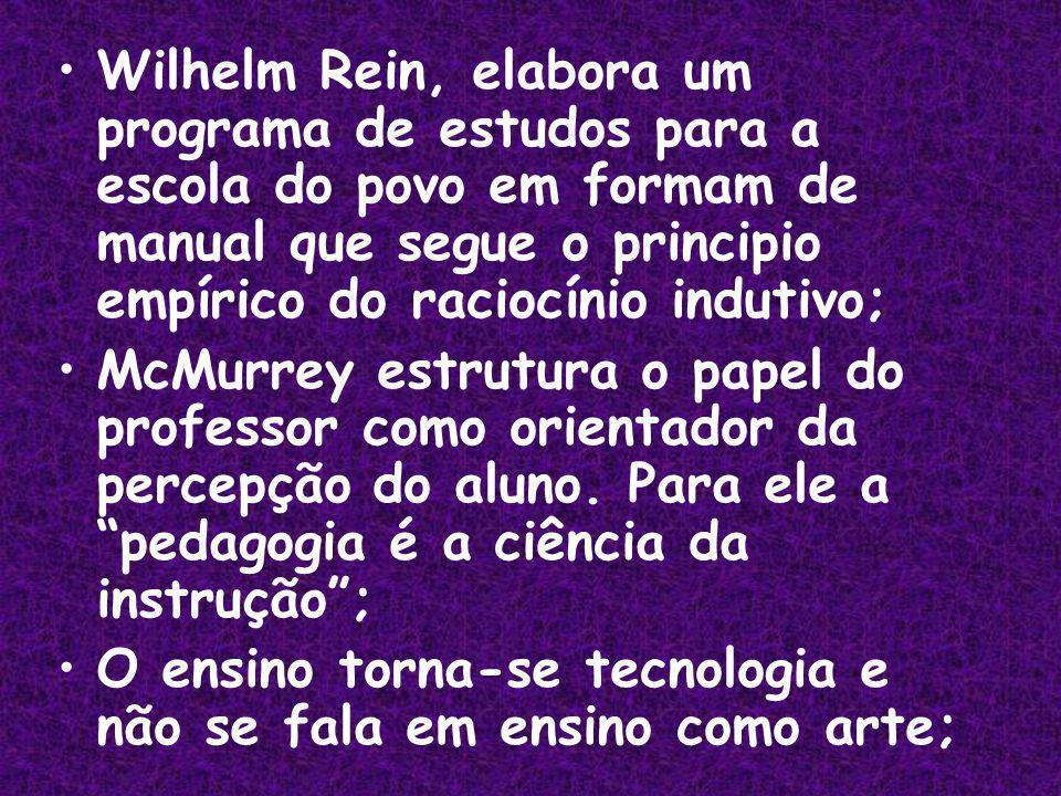 Wilhelm Rein, elabora um programa de estudos para a escola do povo em formam de manual que segue o principio empírico do raciocínio indutivo; McMurrey estrutura o papel do professor como orientador da percepção do aluno.