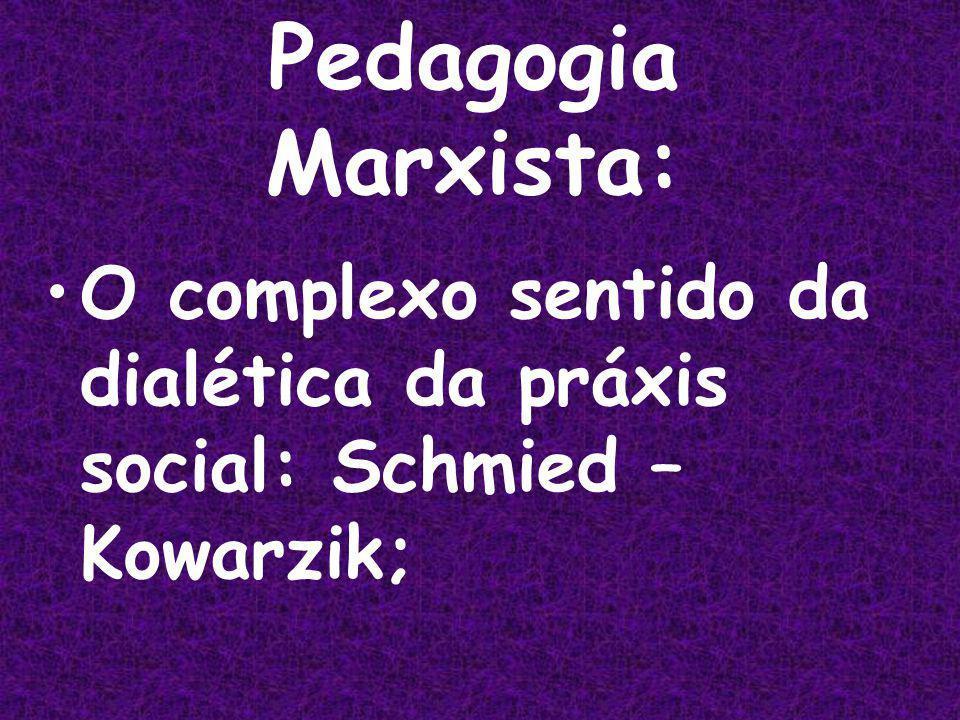 Pedagogia Marxista: O complexo sentido da dialética da práxis social: Schmied – Kowarzik;