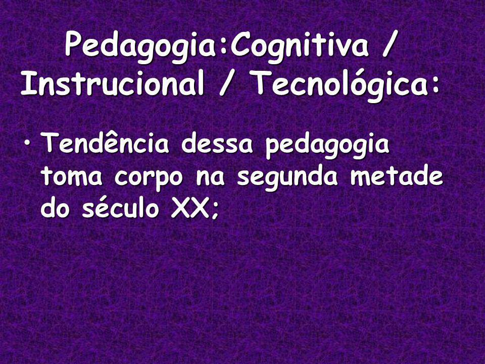 Pedagogia:Cognitiva / Instrucional / Tecnológica: Tendência dessa pedagogia toma corpo na segunda metade do século XX;Tendência dessa pedagogia toma corpo na segunda metade do século XX;
