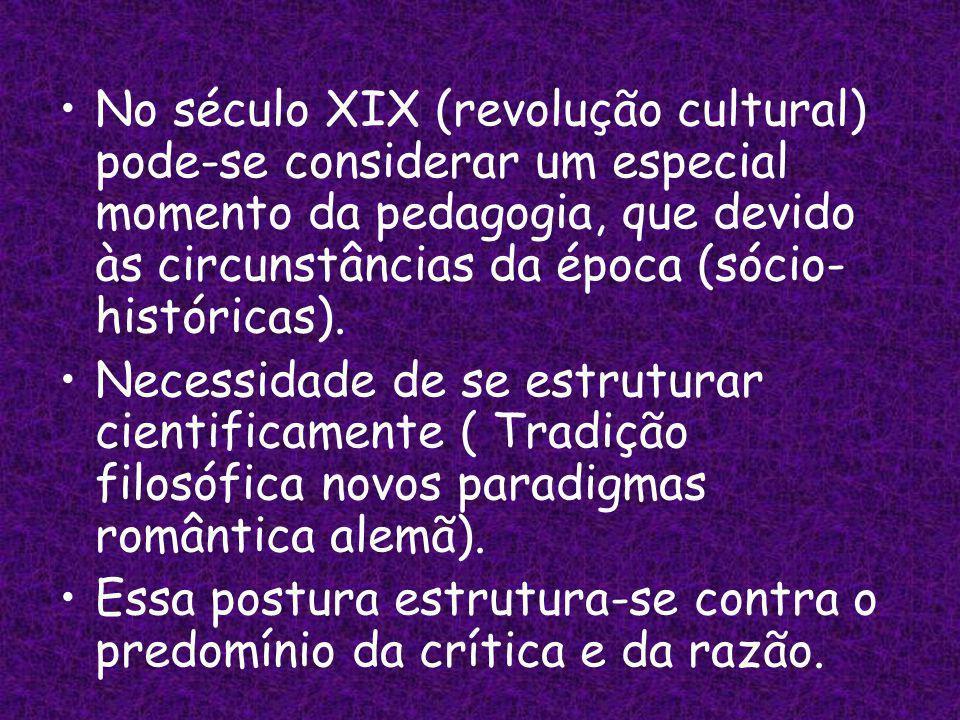 No século XIX (revolução cultural) pode-se considerar um especial momento da pedagogia, que devido às circunstâncias da época (sócio- históricas).