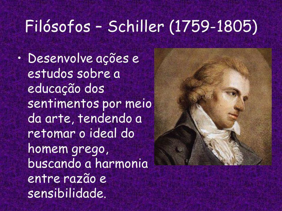 Filósofos – Schiller (1759-1805) Desenvolve ações e estudos sobre a educação dos sentimentos por meio da arte, tendendo a retomar o ideal do homem grego, buscando a harmonia entre razão e sensibilidade.