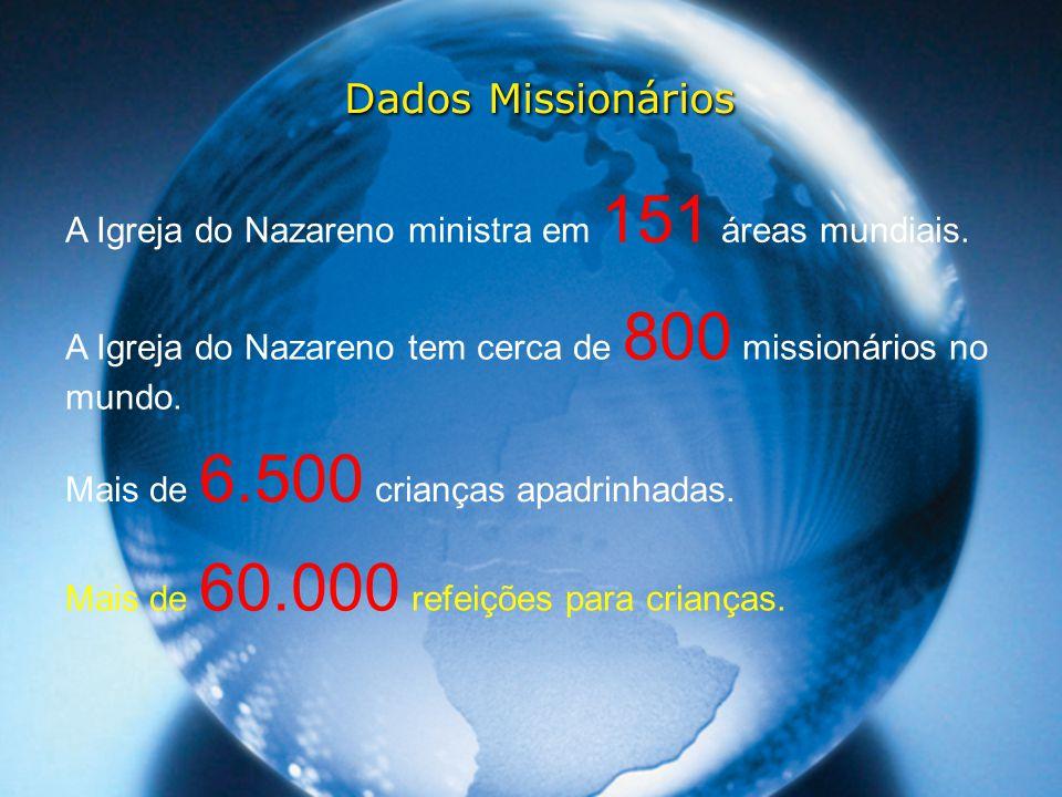 Dados Missionários A Igreja do Nazareno ministra em 151 áreas mundiais. A Igreja do Nazareno tem cerca de 800 missionários no mundo. Mais de 6.500 cri