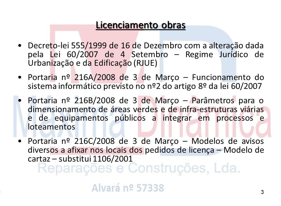 4 Portaria nº 1109/2001 de 19 de Setembro – Livro obra Portaria nº 232/2008 de 11 de Março – Composição dos diversos tipos de pedidos de licenciamento a submeter às Câmaras Municipais incluindo projectos (PIP, Com.