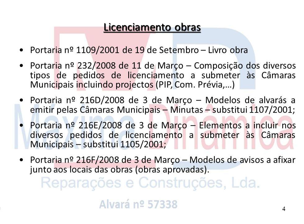 4 Portaria nº 1109/2001 de 19 de Setembro – Livro obra Portaria nº 232/2008 de 11 de Março – Composição dos diversos tipos de pedidos de licenciamento