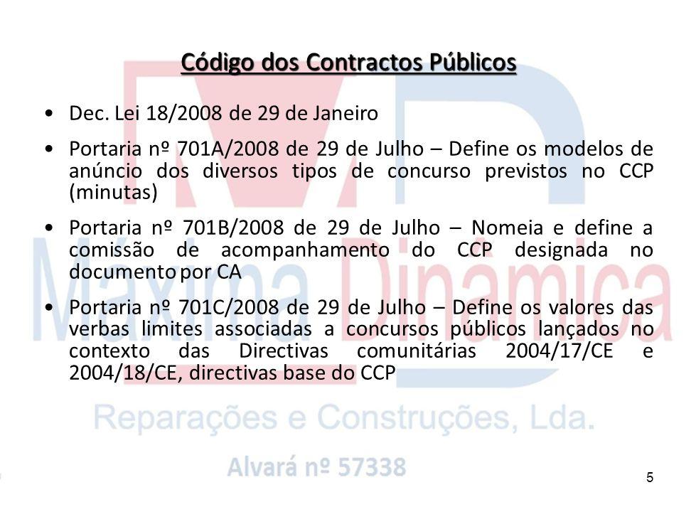 5 Dec. Lei 18/2008 de 29 de Janeiro Portaria nº 701A/2008 de 29 de Julho – Define os modelos de anúncio dos diversos tipos de concurso previstos no CC