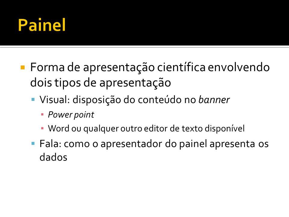 Forma de apresentação científica envolvendo dois tipos de apresentação Visual: disposição do conteúdo no banner Power point Word ou qualquer outro edi