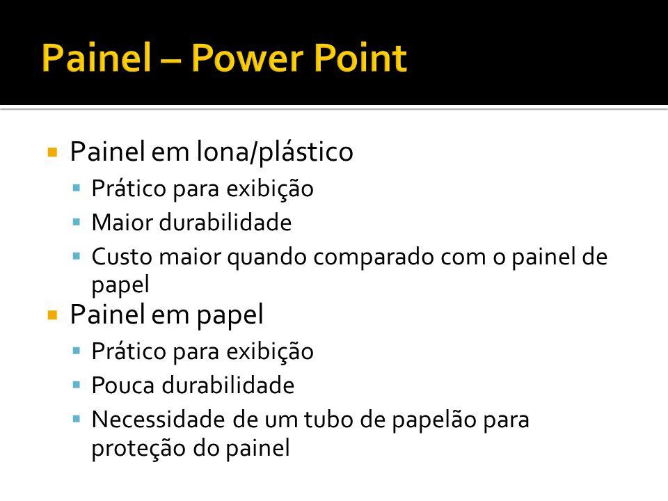 Painel em lona/plástico Prático para exibição Maior durabilidade Custo maior quando comparado com o painel de papel Painel em papel Prático para exibi