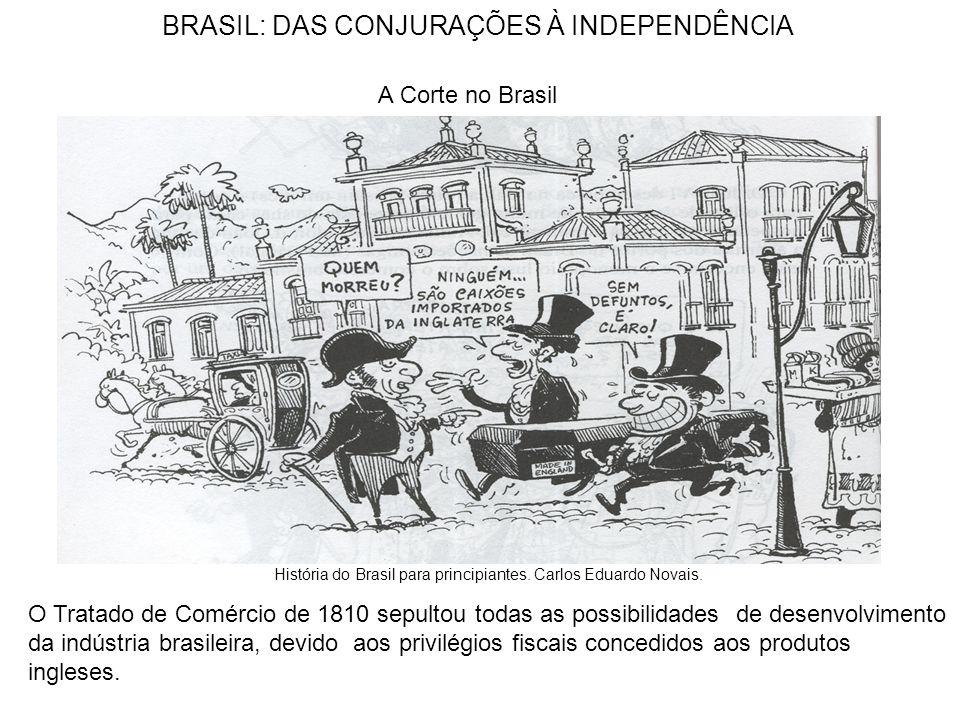 BRASIL: DAS CONJURAÇÕES À INDEPENDÊNCIA A Corte no Brasil O Tratado de Comércio de 1810 sepultou todas as possibilidades de desenvolvimento da indústria brasileira, devido aos privilégios fiscais concedidos aos produtos ingleses.