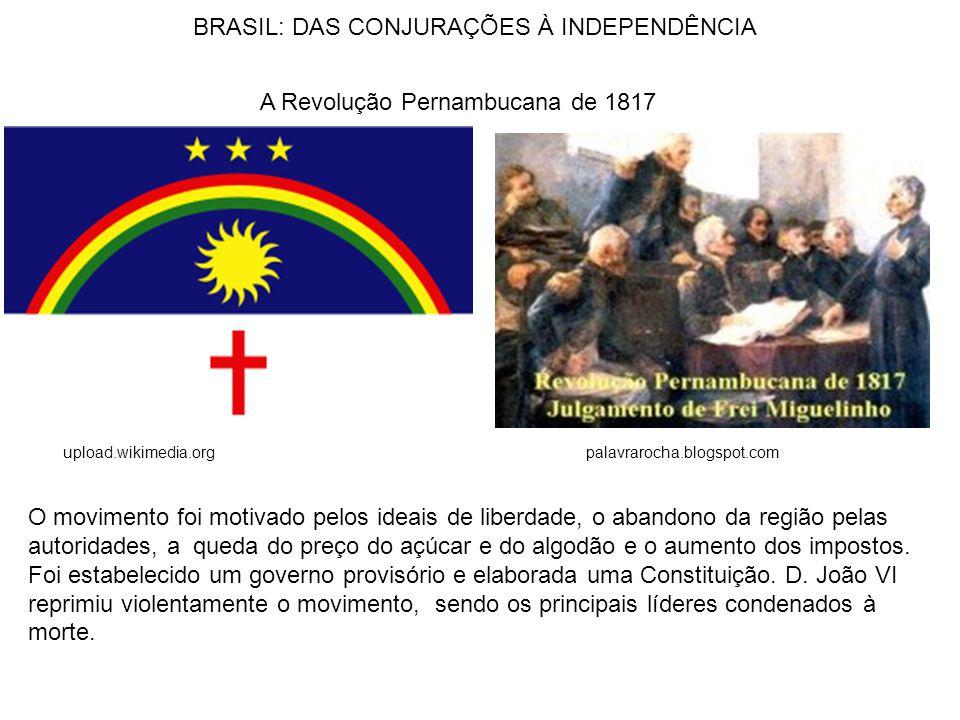A Revolução Pernambucana de 1817 upload.wikimedia.org O movimento foi motivado pelos ideais de liberdade, o abandono da região pelas autoridades, a queda do preço do açúcar e do algodão e o aumento dos impostos.