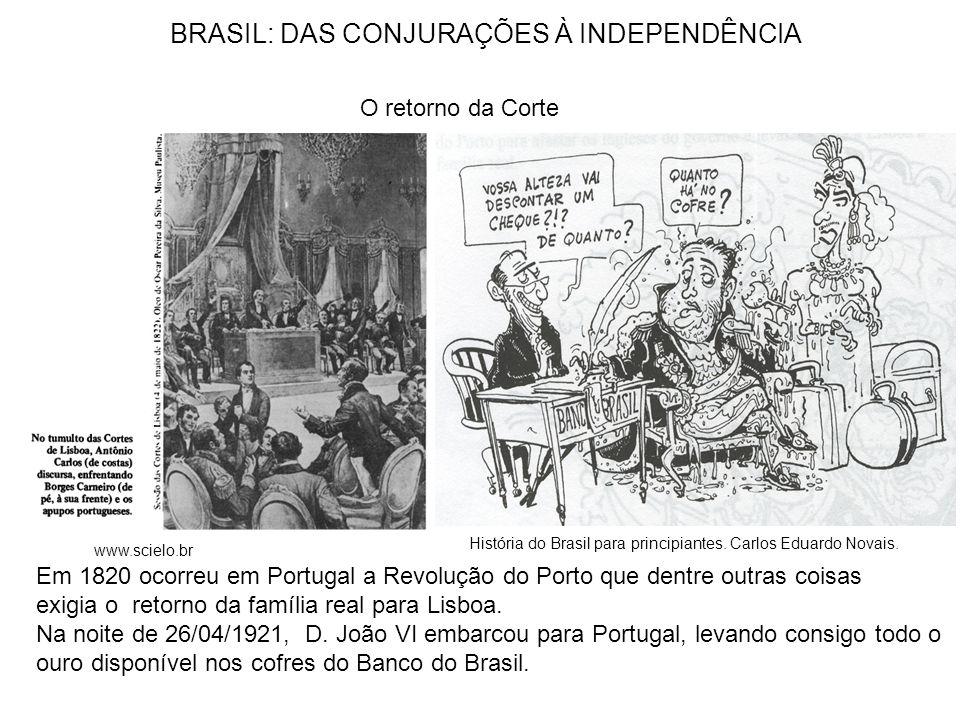 BRASIL: DAS CONJURAÇÕES À INDEPENDÊNCIA O retorno da Corte Em 1820 ocorreu em Portugal a Revolução do Porto que dentre outras coisas exigia o retorno da família real para Lisboa.