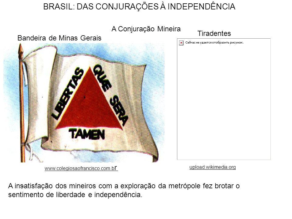 BRASIL: DAS CONJURAÇÕES À INDEPENDÊNCIA A Conjuração Mineira www.colegiosaofrancisco.com.b r upload.wikimedia.org A insatisfação dos mineiros com a ex