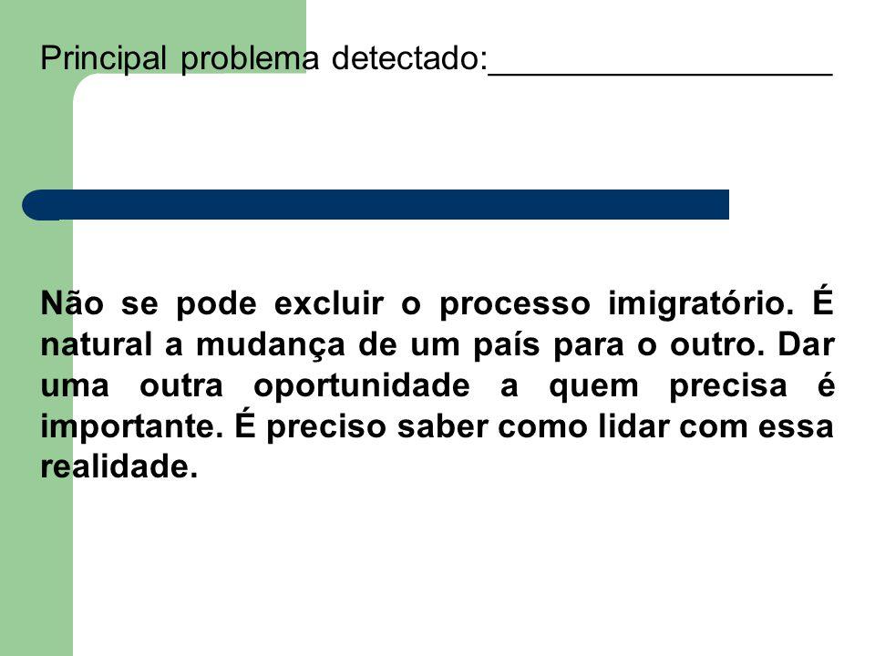 Principal problema detectado:__________________ Não se pode excluir o processo imigratório. É natural a mudança de um país para o outro. Dar uma outra