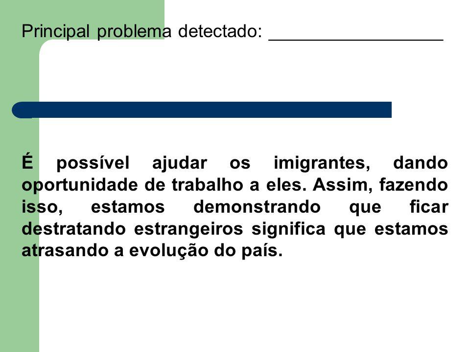 Principal problema detectado: _________________ É possível ajudar os imigrantes, dando oportunidade de trabalho a eles.