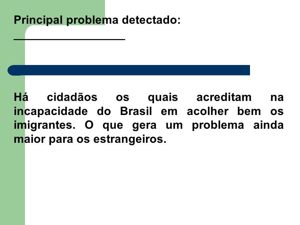 Principal problema detectado: _________________ Há cidadãos os quais acreditam na incapacidade do Brasil em acolher bem os imigrantes. O que gera um p