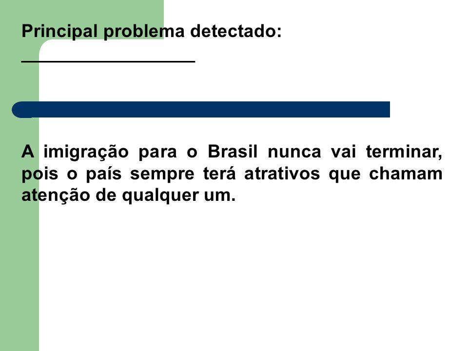 Principal problema detectado: _________________ A imigração para o Brasil nunca vai terminar, pois o país sempre terá atrativos que chamam atenção de qualquer um.