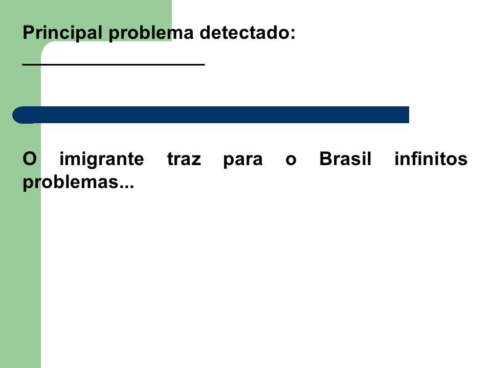 Principal problema detectado: _________________ O imigrante traz para o Brasil infinitos problemas...