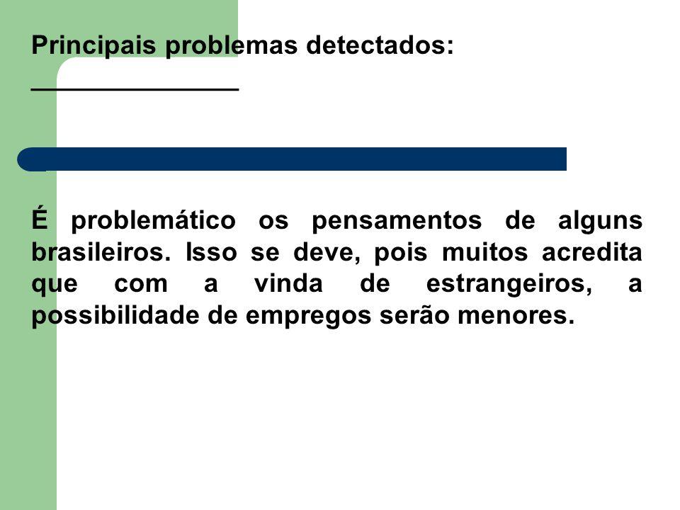 Principais problemas detectados: ______________ É problemático os pensamentos de alguns brasileiros. Isso se deve, pois muitos acredita que com a vind