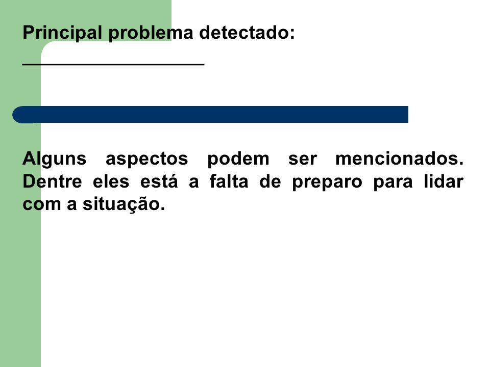 Principal problema detectado: _________________ Alguns aspectos podem ser mencionados.