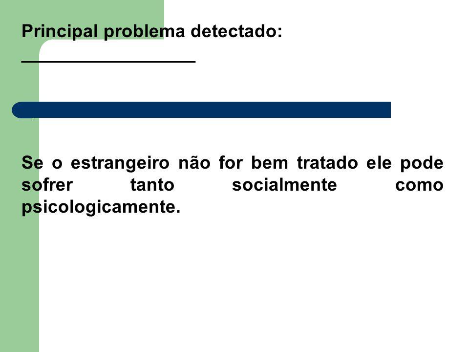 Principal problema detectado: _________________ Se o estrangeiro não for bem tratado ele pode sofrer tanto socialmente como psicologicamente.