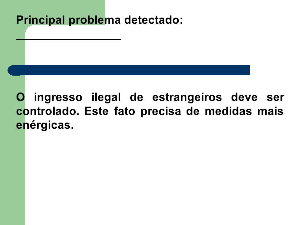Principal problema detectado: ________________ O ingresso ilegal de estrangeiros deve ser controlado. Este fato precisa de medidas mais enérgicas.
