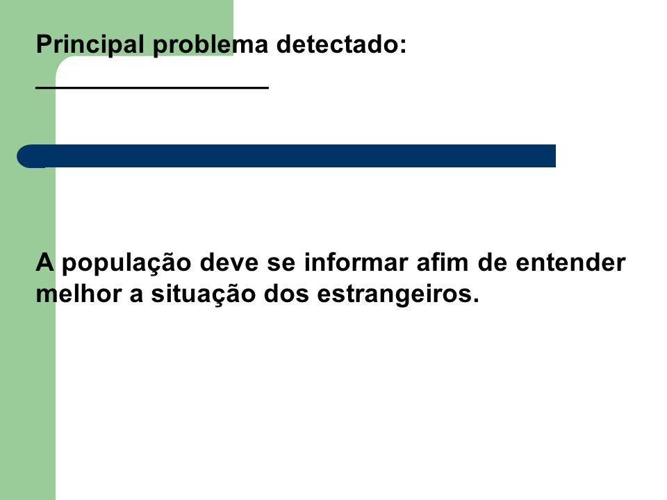 Principal problema detectado: ________________ A população deve se informar afim de entender melhor a situação dos estrangeiros.