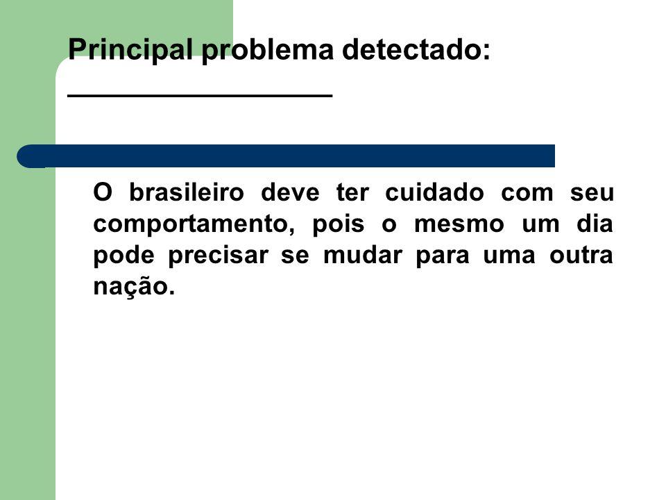Principal problema detectado: ________________ O brasileiro deve ter cuidado com seu comportamento, pois o mesmo um dia pode precisar se mudar para uma outra nação.