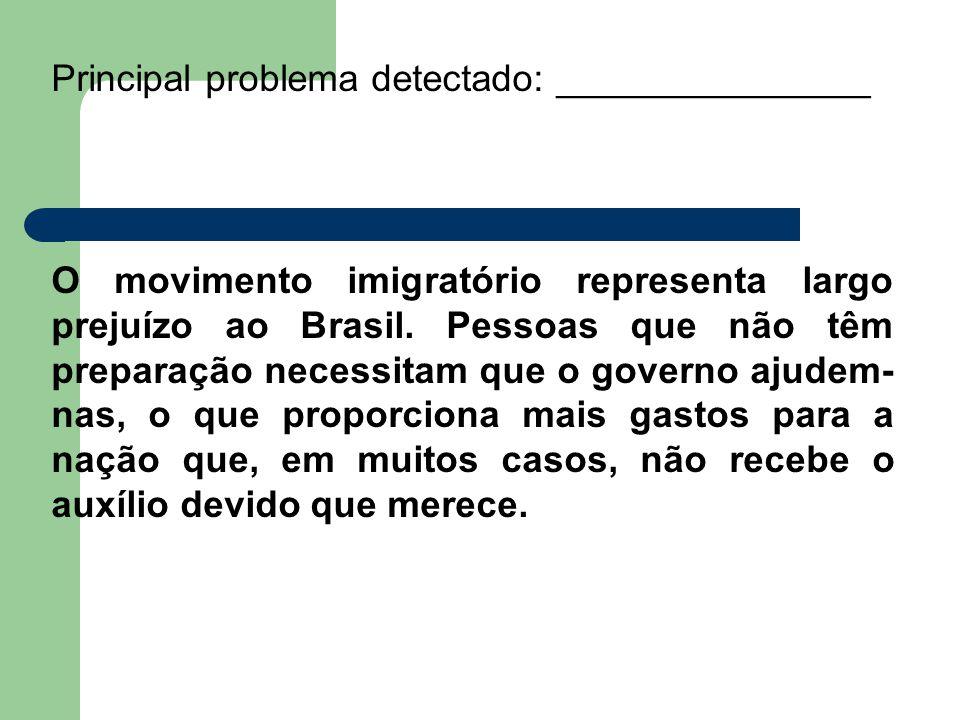 Principal problema detectado: _______________ O movimento imigratório representa largo prejuízo ao Brasil. Pessoas que não têm preparação necessitam q