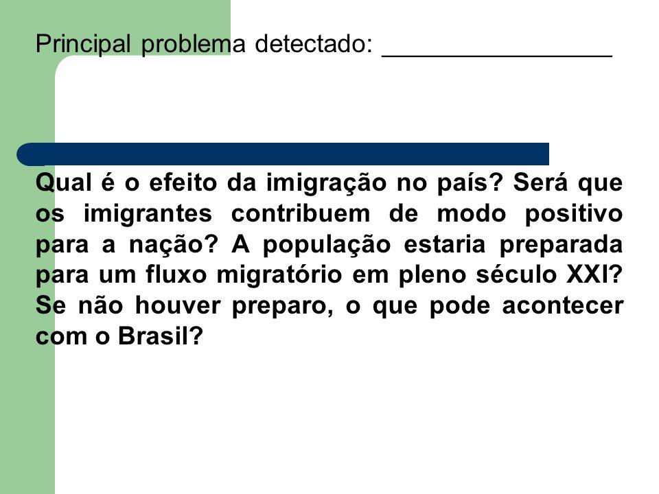Principal problema detectado: ________________ Qual é o efeito da imigração no país.