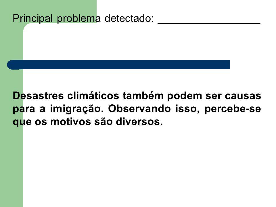 Principal problema detectado: _________________ Desastres climáticos também podem ser causas para a imigração.