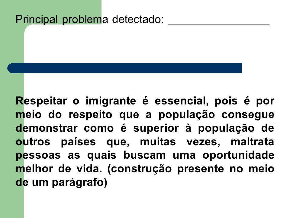 Principal problema detectado: ________________ Respeitar o imigrante é essencial, pois é por meio do respeito que a população consegue demonstrar como