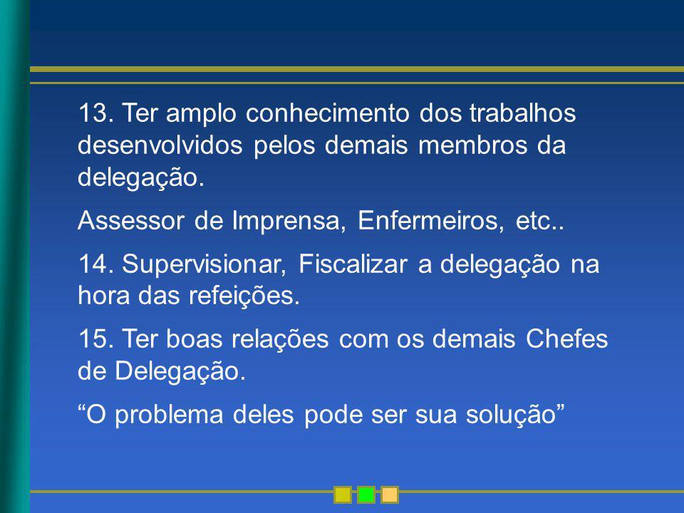 13. Ter amplo conhecimento dos trabalhos desenvolvidos pelos demais membros da delegação. Assessor de Imprensa, Enfermeiros, etc.. 14. Supervisionar,
