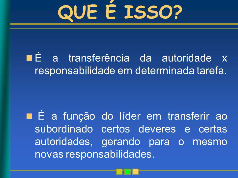 QUE É ISSO? É a transferência da autoridade x responsabilidade em determinada tarefa. É a função do líder em transferir ao subordinado certos deveres