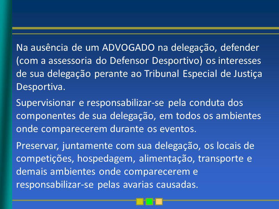 Na ausência de um ADVOGADO na delegação, defender (com a assessoria do Defensor Desportivo) os interesses de sua delegação perante ao Tribunal Especia