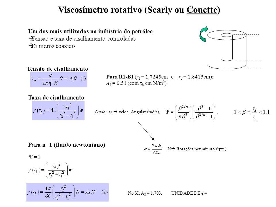 Viscosímetro rotativo (Searly ou Couette) Um dos mais utilizados na indústria do petróleo Tensão e taxa de cisalhamento controladas Cilindros coaxiais Taxa de cisalhamento Para R1-B1 (r 1 = 1.7245cm e r 2 = 1.8415cm): A 1 = 0.51 (com b em N/m 2 ) Tensão de cisalhamento Onde: w veloc.