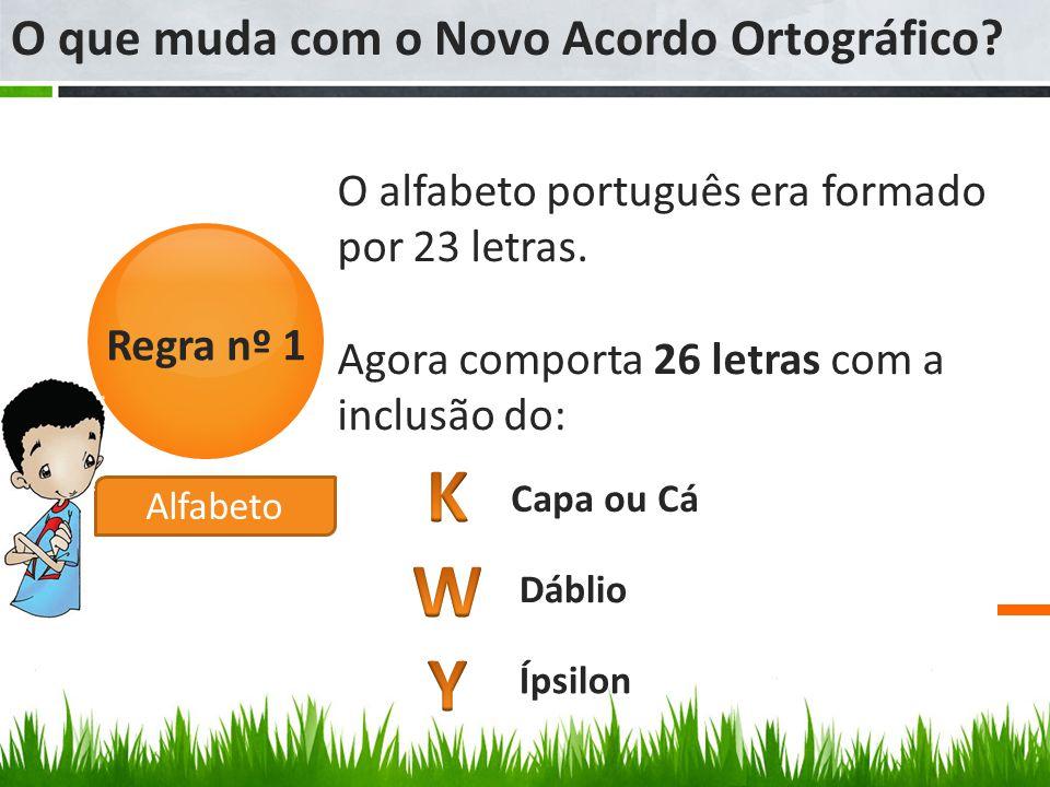 O alfabeto português era formado por 23 letras. Agora comporta 26 letras com a inclusão do: O que muda com o Novo Acordo Ortográfico? Regra nº 1 Capa