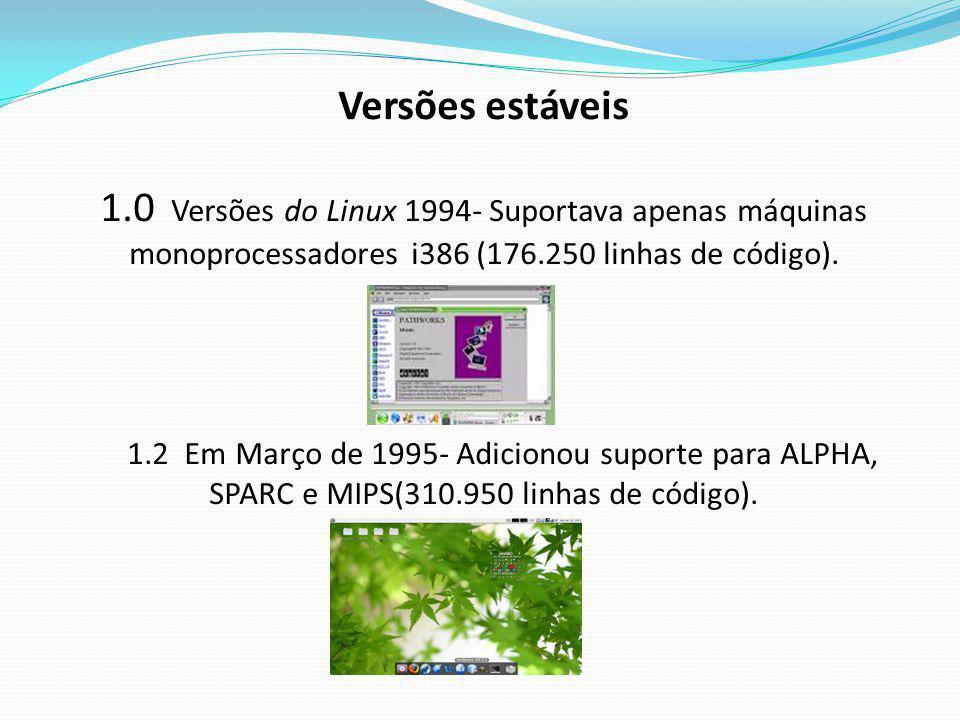 Versões estáveis 1.0 Versões do Linux 1994- Suportava apenas máquinas monoprocessadores i386 (176.250 linhas de código). 1.2 Em Março de 1995- Adicion