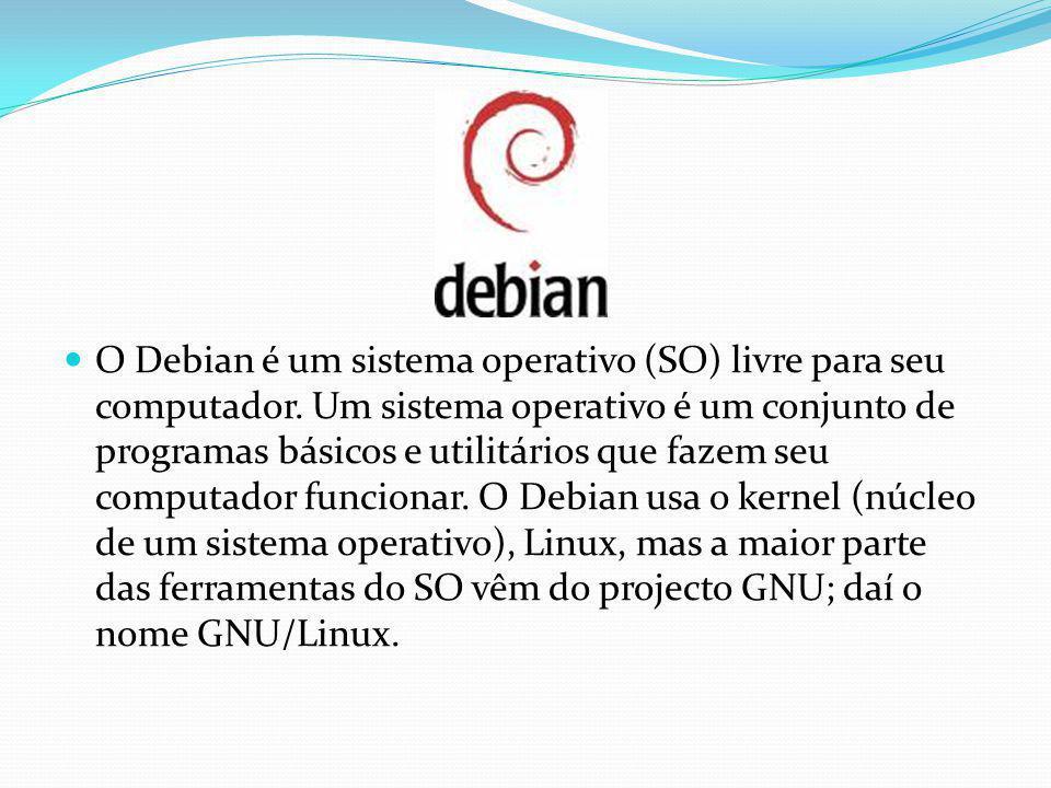 O Debian é um sistema operativo (SO) livre para seu computador. Um sistema operativo é um conjunto de programas básicos e utilitários que fazem seu co