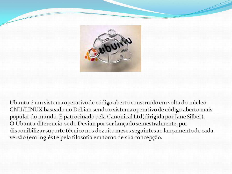 Ubuntu é um sistema operativo de código aberto construído em volta do núcleo GNU/LINUX baseado no Debian sendo o sistema operativo de código aberto ma